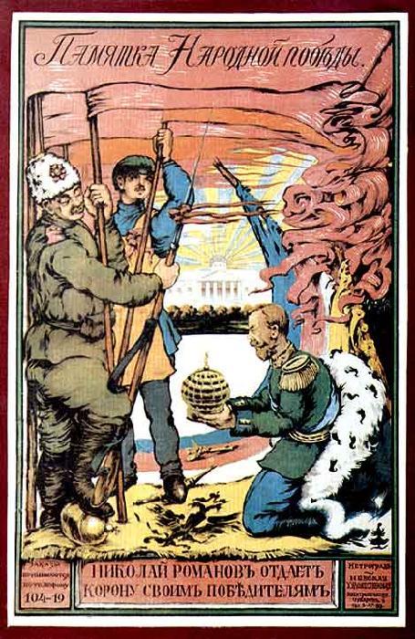 Zpráva o Vítězství lidu  Mikuláš Romanov odevzdává korunu vítězům